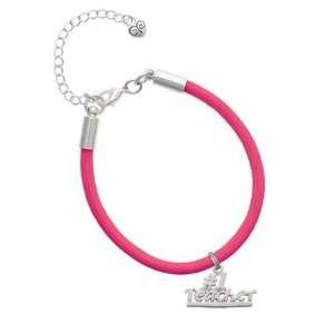 #1 Teacher   Silver Charm on a Hot Pink Malibu Charm
