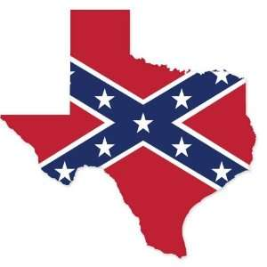 Texas Confederate Flag car bumper sticker window decal 4