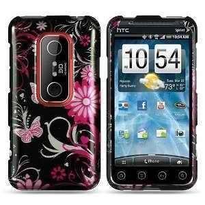 Black Pink Butterfly Flower HTC EVO 3d (Sprint) Premium Snap on Phone