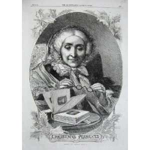 1862 Old Lady Woman Christmas Book Glasses Pictures