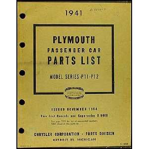 1941 Plymouth Car Parts Book Original: Plymouth: Books
