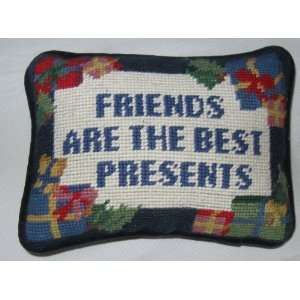 Friends Are The Best Presents Decorative Needle point Christmas Pillow