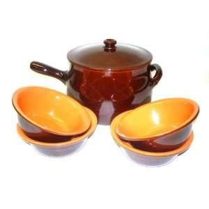 Piral, Italian Terracotta Stewpot Bowl Set Chocolate Rich