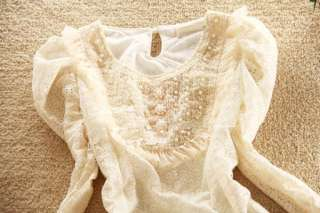 New Woman Beige Long Sleeve Lace Pearl Fold Casual Blouse Top Fit US