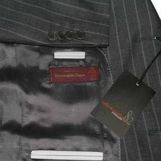 NWT $1895 ERMENEGILDO ZEGNA CLOTH DARK GRAY PINSTRIPE MENS SUIT MADE