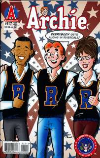 Archie #617. Barack Obama and Sarah Palin cover. Campaign Pains part 2