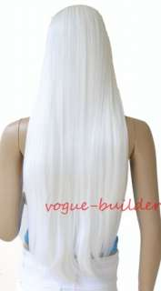 28 inch High Heat Resistent Long White Straight Cosplay Party Hair Wig