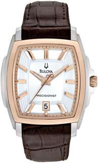 Bulova Mens Precisionist Rose Gold Plt and Steel Longwood Square