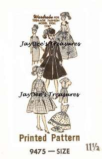 9475 Vintage Doll Clothes Pattern Barbie Teen 11 1/2