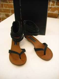 Steve Madden Raptture BLACK Snake emboss Suede Ankle Wrap Sandals 8