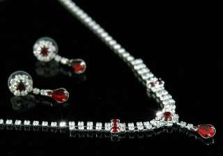 Bridal Dark Red Crystal Necklace Earrings Set S1115