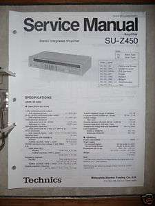 Service Manual Technics SU Z450 Amplifier,ORIGINAL