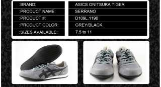 D109L.1190] ASICS ONITSUKA TIGER SERRANO MEN GREY/BLACK SZ. 7.5 TO 11