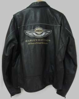 100th Anniversary Mens Harley Davidson Leather Jacket XL