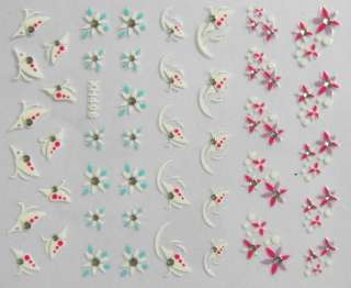 3D Nail Art Sticker Pink Blue Flower Butterfly XH408 004