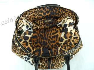YVES SAINT LAURENT YSL Easy Leopard Print Fabric and Leather Trim Tote