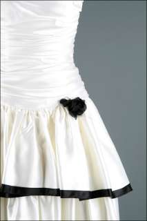 1291  Vtg 80s Black White Bolero Satin Wedding Prom Cocktail Party