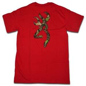Red Browning Camouflage Buckmark T Shirt   Logo Color Camo