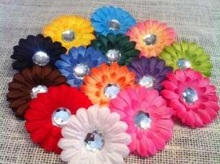 14 SMALL 2 GERBER DAISY FLOWER HAIR GEM BOW CLIP GIRL BABY NEW