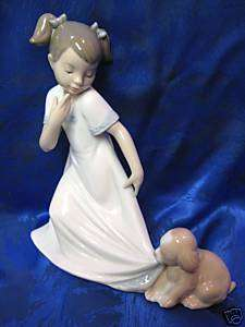 LET ME GO GIRL WITH DOG FEMALE FIGURINE NAO BY LLADRO #1434