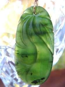 Hand Carved Green Nephrite Jade & 14kt Gold Earrings OOAK
