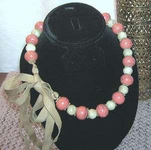Vintage Native American Indian Trade Bead Necklace Coral Gemstone Deer