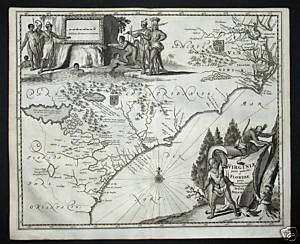 1673   Virginia Florida North America Map Montanus RARE