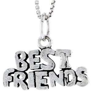 925 Sterling Silver Best Friends Talking Pendant (w/ 18 Silver Chain