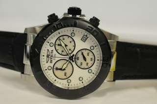 New Invicta 1720 Elite Chronograph White Dial Black Leather Strap