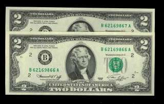 Here are TWO consecutively numbered $2 Green Seal United States