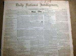 BEST 1820 newspaper JAMES MONROE ELECTED US PRESIDENT w Definitive