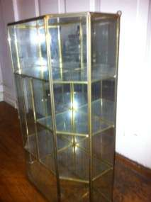 Brass & Glass Table Top Curio Wall Cabinet 4 Shelf Display Case