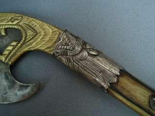 Old Tibet Tibetan Silver Armored Bone Ax Phurpa Dagger