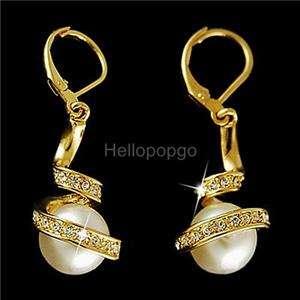 18K Gold GP Swarovski Crystal White Pearl earrings