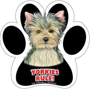 Yorkies Rule DOG PAW PRINT RUBBER CAR FRIDGE LOCKER MAGNET Made in