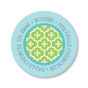 Four Post Crib Blue & Green Round Baby Shower Stickers
