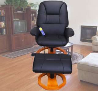 AOSOM Black Office TV Recliner Massage Chair With Ottoman New