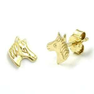 9K Gold Horse Head Stud Earrings DE NO Jewelry