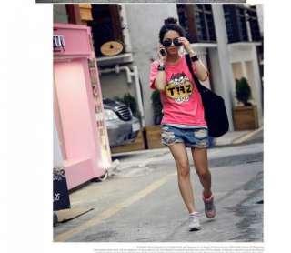 New Korea Womens Cute Pink Cartoon Pattern T Shirt