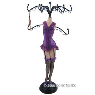 Babydoll Jewelry Holder Stand 14.5H Purple w/defects