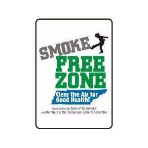 SMOKE FREE ZONE CLEAR THE AIR FOR GOOD HEALTH (TENNESSEE) Sign   14 x