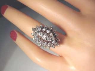 GREAT ESTATE 1.25 CARAT 50 DIAMOND 14K WHITE GOLD COCKTAIL RING 80%