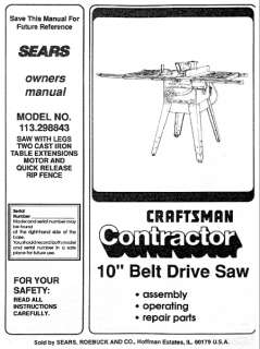 Craftsman Table Saw Owners Manual Many Models Av.