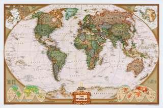 Modern Day World Map.36x48 World Wall Map Modern Day Antique Framed Edition