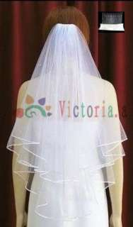 2T/4T white/ivory wedding bridal veil beads comb new
