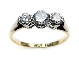 Vintage 18ct Gold & Platinum three stone Diamond ring   SIZE M+