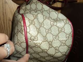 WOW~ AUTHENTIC GUCCI MESSENGER LAPTOP PURSE BAG BROWN RED PINK LOOK