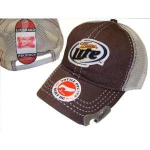 LITE BEER MILLER CAP CAPS HAT BROWN BLUE BOTTLE OPENER