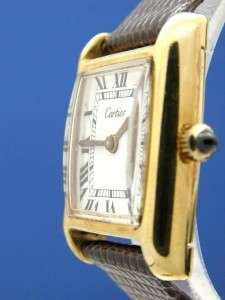 Ladies Cartier Tank 18K Gold Plated Watch W/ White Dial (54594)