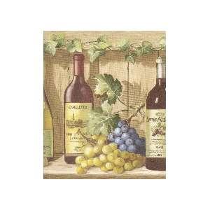 GRAPES, IVY & WINE BOTTLES SHELF Wallpaper bordeR Wall